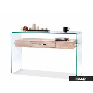 Biurko Opal sonoma szklana konsola z szufladą