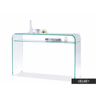 Szklana konsola z półką do biura Cristal