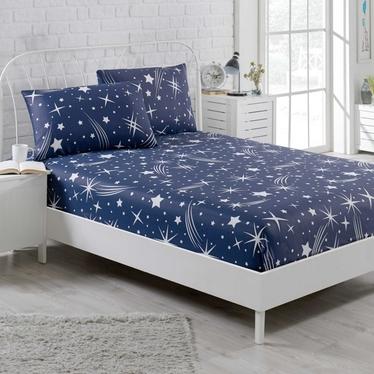 Prześcieradło Holleno 100x200 cm z dwiema poszewkami na poduszki 50x70 cm granatowe niebo z gwiazdami