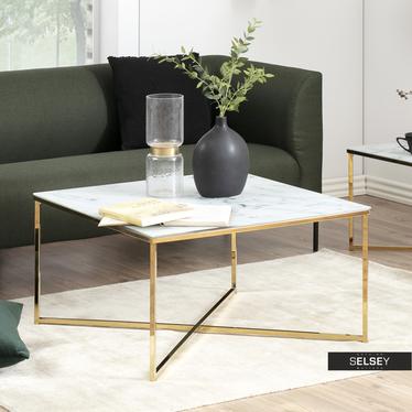 Stolik kawowy Bakar 80x80 cm ze złotą chromowaną podstawą