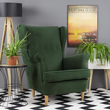 Fotel uszak Malmo butelkowa zieleń w tkaninie Easy Clean