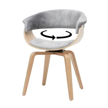 Krzesło tapicerowane Asarlo szary welur na klonowych nogach