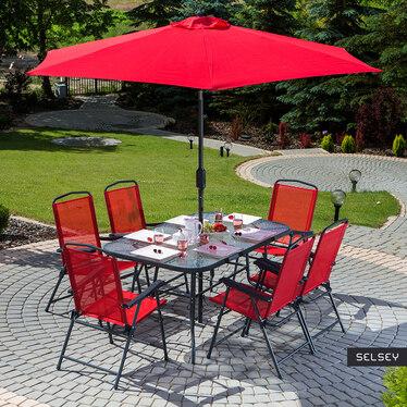 Zestaw ogrodowy Rapasolla stół z sześcioma krzesłami i parasolem czerwony