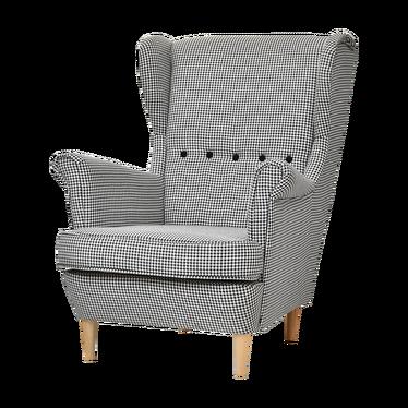 Fotel Malmo pepitka czarno-biały stylowy uszak do salonu