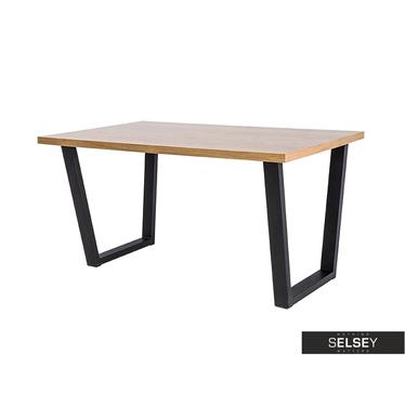 Stół Covello lity dąb/czarny 180x90 cm
