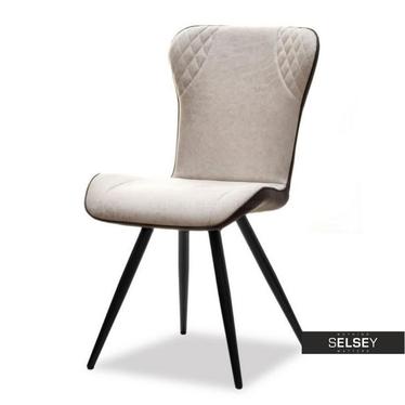 Krzesło Branty beżowo-brązowe z ekoskórą na plecach