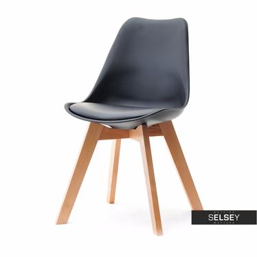 Krzesło Luis wood buk-czarny z tworzywa i drewna