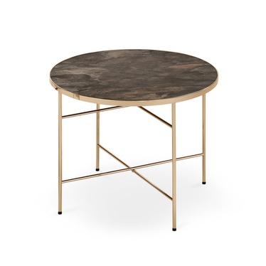 Stolik kawowy Algar o średnicy 60 cm ciemny marmur - złoto
