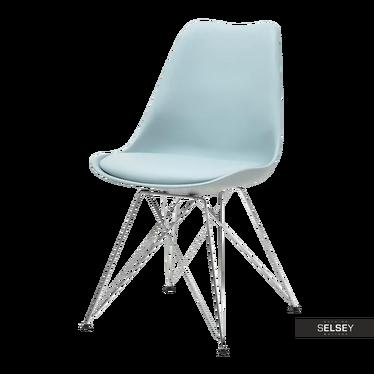 Krzesło Luis rod niebieskie na chromowanej podstawie