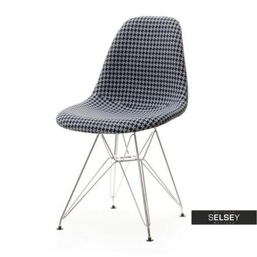 Krzesło MPC rod tap pepitka na chromowanych nóżkach