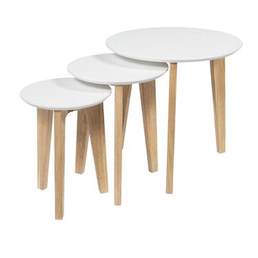 Zestaw trzech stolików kawowych Skrad o średnicy 50 cm, 35 cm i 30 cm