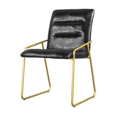 Krzesło Roger czarne na złotych nogach ze stali