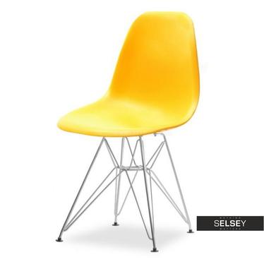 Krzesło MPC rod żółte na chromowanych nóżkach