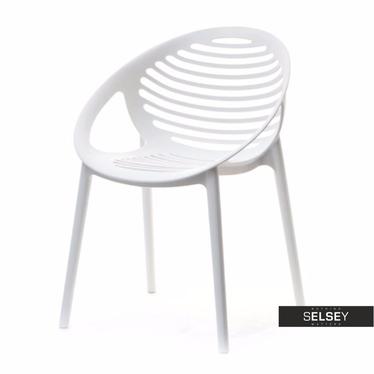 Krzesło Boria białe z tworzywa ażurowe