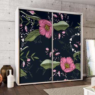 Szafa Wenecja 205 cm Malowane kwiaty na czarnym tle