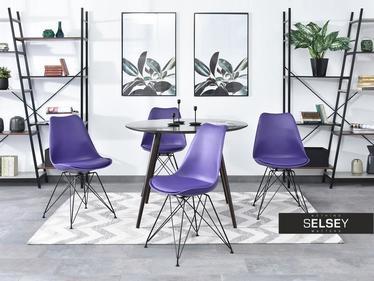 Krzesło Luis rod fioletowe na czarnej podstawie