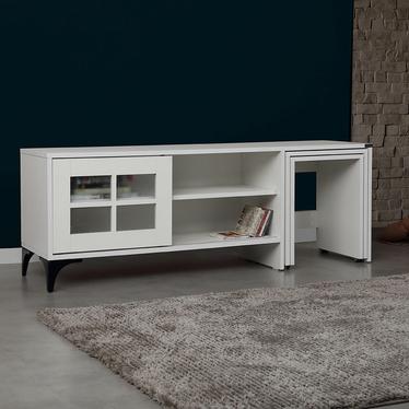 Szafka RTV Hills 150 cm biała z wysuwanymi stolikami