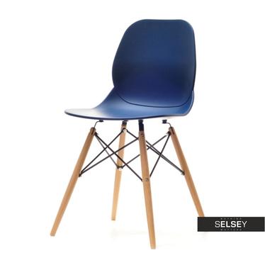 Krzesło Leaf wood granatowe