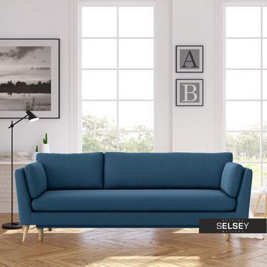 Wygodna Kanapa Kora trzyosobowa z funkcją spania Niebieska przytulna