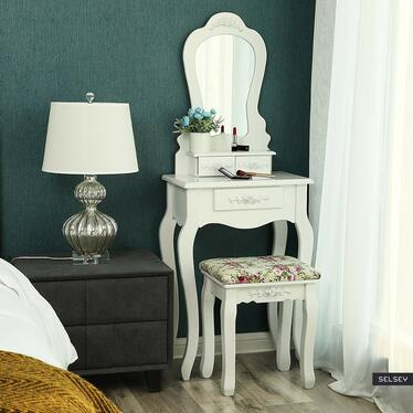 Toaletka Shalow Dualle 50 cm z lustrem i taboretem