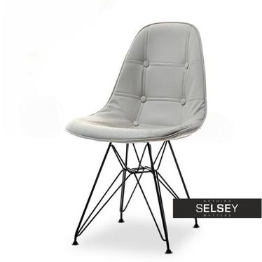 Krzesło MPC rod tap szara ekoskóra na czarnej podstawie pikowane