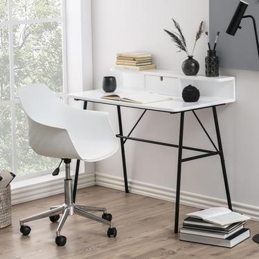 Biurko Brova białe z czarną podstawą