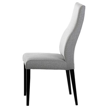 Zestaw dwóch krzeseł tapicerowanych Dreta szare na czarnej podstawie