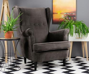 Fotel z podnóżkiem Malmo ciemnoszary welur