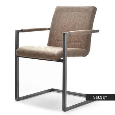 Krzesło Kiato brązowe na stalowej konstrukcji z podłokietnikami