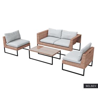 Zestaw ogrodowy Darkone sofa z dwoma fotelami i stolik