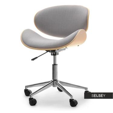 Fotel biurowy Swing dąb-szary tapicerowany z giętego drewna