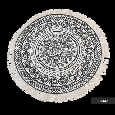 Dywan okrągły z frędzlami ciemny wzór średnica 90 cm wzór 1