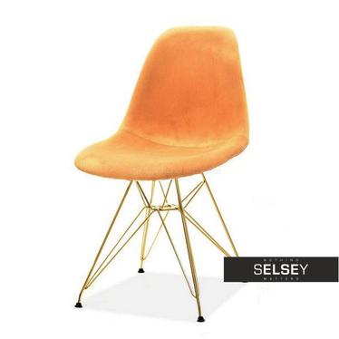 Krzesło MPC rod tap brzoskwiniowo - złote welurowe