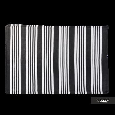 Dywan Outdoor 120x180 cm szerokie i wąskie czarne pasy do ogrodu