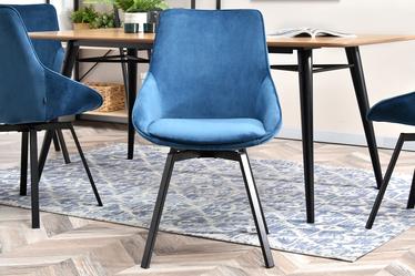 Krzesło tapicerowane Yanii z podłokietnikami niebieskie na czarnej podstawie