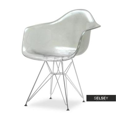 Krzesło MPA rod transparentne dymione do nowoczesnego salonu