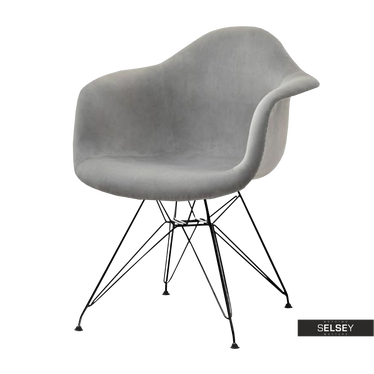 Krzesło MPA rod tap szare na czarnej podstawie velvet