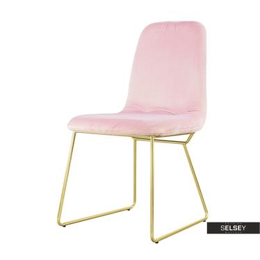 Krzesło Doris pudrowe na złotych nogach ze stali