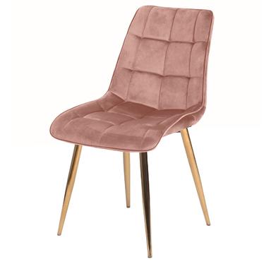 Krzesło tapicerowane Briare różowo - złote z przeszyciami