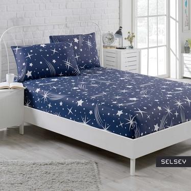 Prześcieradło Holleno 160x200 cm z dwiema poszewkami na poduszki 50x70 cm granatowe niebo z gwiazdami