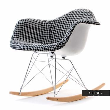 Krzesło bujane MPA ROC tap pepitka designerski bujak z podłokietnikami