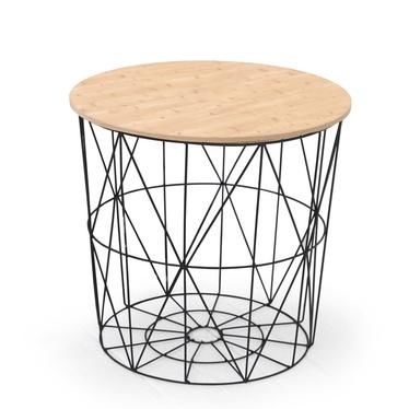Stolik kawowy Noja o średnicy 42 cm czarno-naturalny