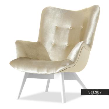 Fotel Flori złoty - biały uszak pikowany velvet