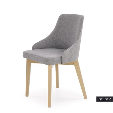 Krzesło tapicerowane Berlas szare - dąb sonoma
