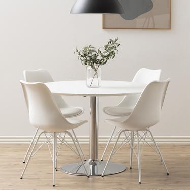 Stół do jadalni okrągły Balsamita średnica 110 cm biały na chromowanej nodze