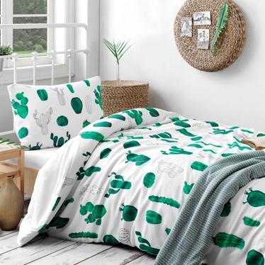Komplet pościeli Kaktusy 160x220 cm z poszewką na poduszkę 50x70 cm i z prześcieradłem