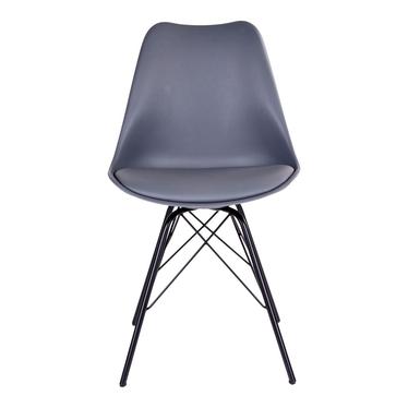 Zestaw dwóch krzeseł Avihu szare na czarnych nogach