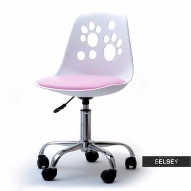 Fotel biurowy Foot biało - różowy dziecięcy do biurka
