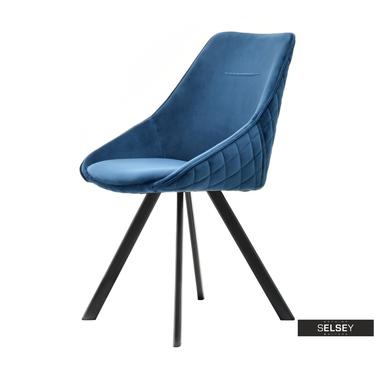 Krzesło Jonas niebieskie na czarnych nogach