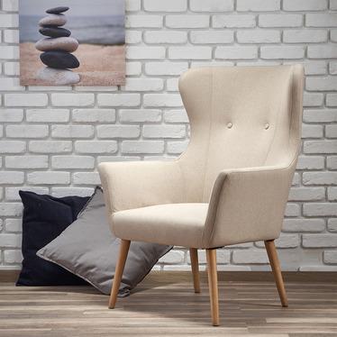 Fotel Emifban na drewnianych nogach - beżowe tapicerowanie